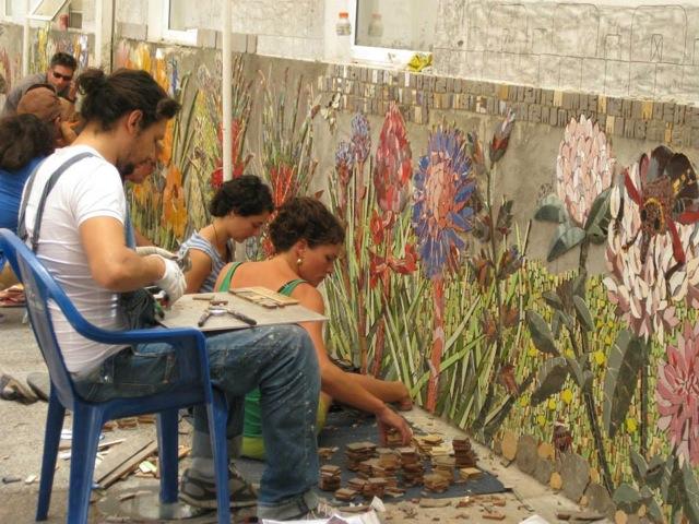 3 mosaic artist working